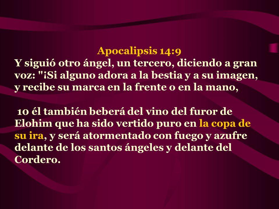 Apocalipsis 14:9 Y siguió otro ángel, un tercero, diciendo a gran voz: