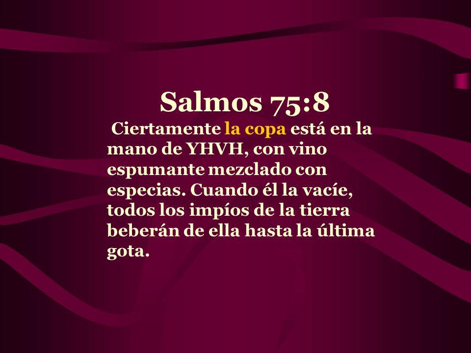 Salmos 75:8 Ciertamente la copa está en la mano de YHVH, con vino espumante mezclado con especias. Cuando él la vacíe, todos los impíos de la tierra b