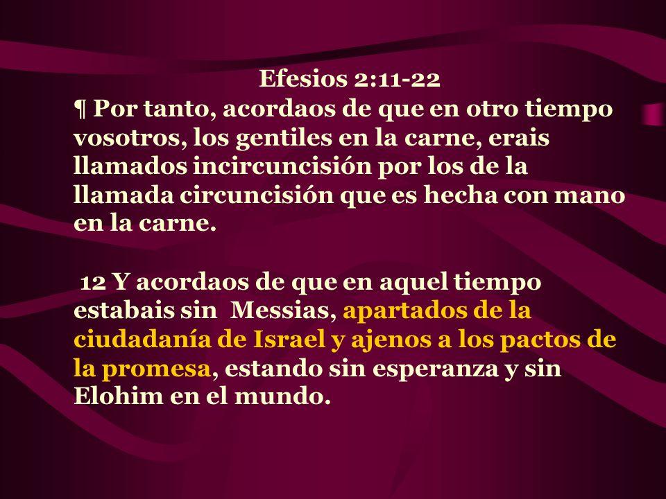 Efesios 2:11-22 ¶ Por tanto, acordaos de que en otro tiempo vosotros, los gentiles en la carne, erais llamados incircuncisión por los de la llamada ci