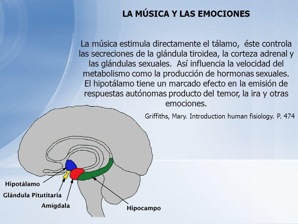 LA MÚSICA Y LAS EMOCIONES La música estimula directamente el tálamo, éste controla las secreciones de la glándula tiroidea, la corteza adrenal y las g