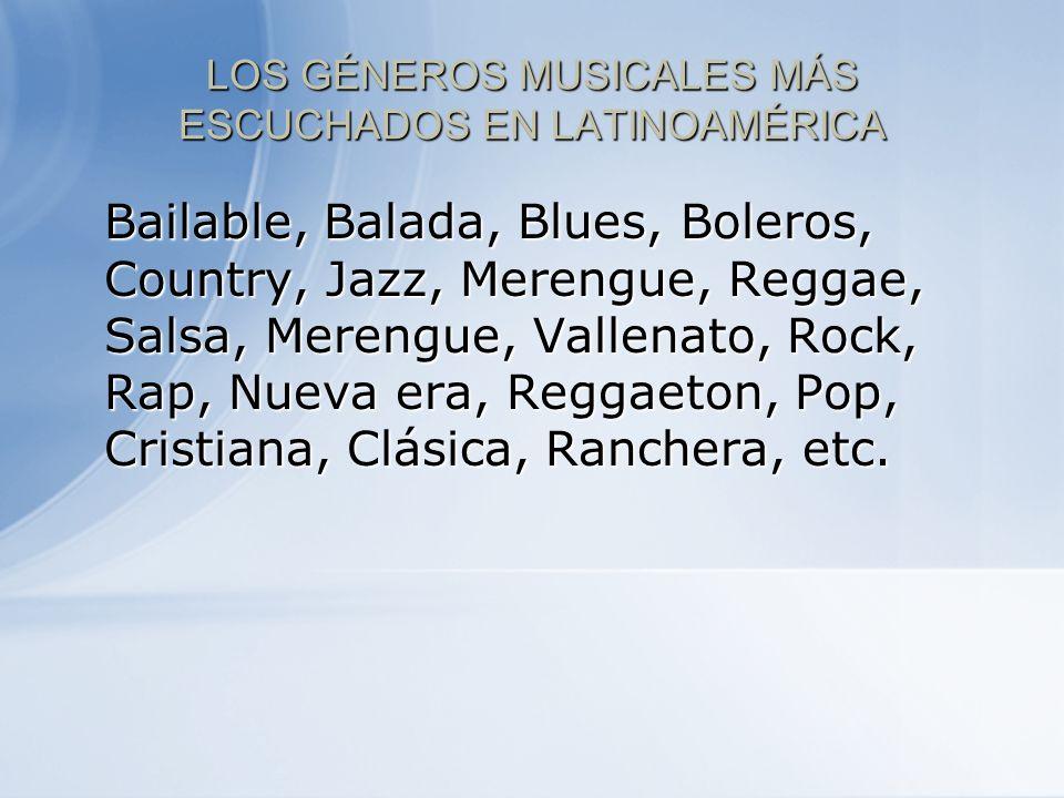 LOS GÉNEROS MUSICALES MÁS ESCUCHADOS EN LATINOAMÉRICA Bailable, Balada, Blues, Boleros, Country, Jazz, Merengue, Reggae, Salsa, Merengue, Vallenato, R