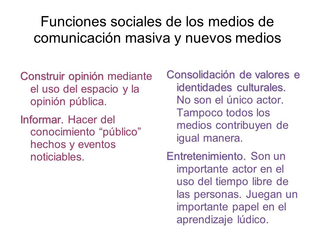 Funciones sociales de los medios de comunicación masiva y nuevos medios Construir opinión Construir opinión mediante el uso del espacio y la opinión pública.