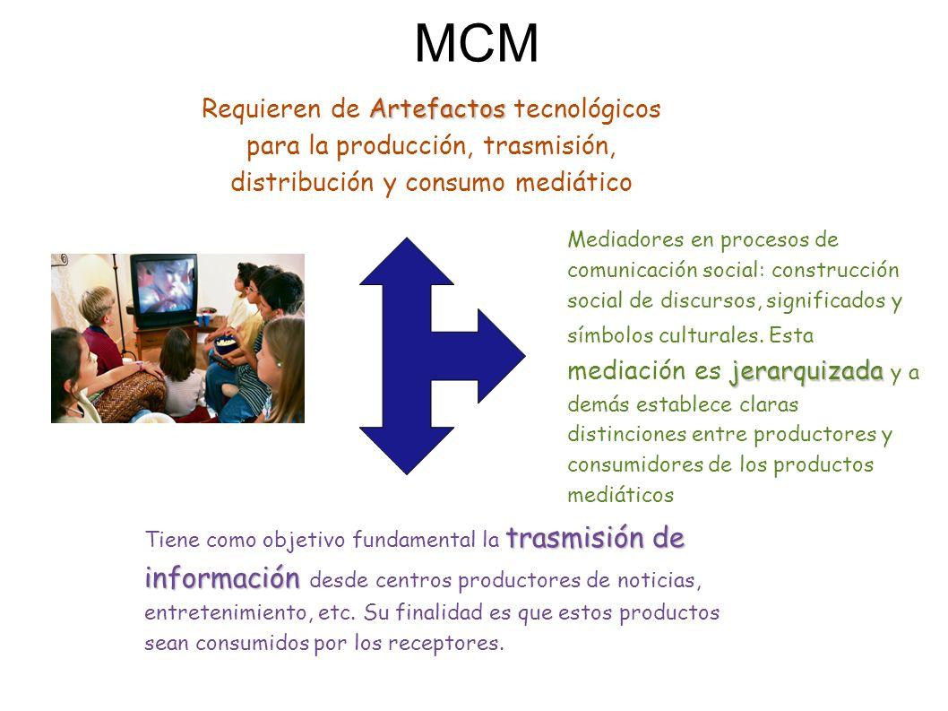 MCM Artefactos Requieren de Artefactos tecnológicos para la producción, trasmisión, distribución y consumo mediático jerarquizada Mediadores en procesos de comunicación social: construcción social de discursos, significados y símbolos culturales.