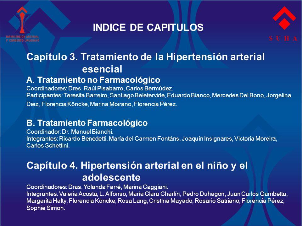 S U H A INDICE DE CAPITULOS Capítulo 3. Tratamiento de la Hipertensión arterial esencial A. Tratamiento no Farmacológico Coordinadores: Dres. Raúl Pis