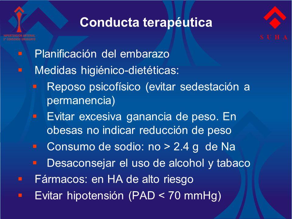 S U H A Conducta terapéutica Planificación del embarazo Medidas higiénico-dietéticas: Reposo psicofísico (evitar sedestación a permanencia) Evitar exc