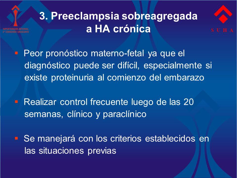 S U H A 3. Preeclampsia sobreagregada a HA crónica Peor pronóstico materno-fetal ya que el diagnóstico puede ser difícil, especialmente si existe prot