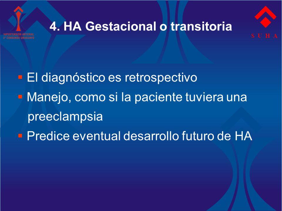 S U H A 4. HA Gestacional o transitoria El diagnóstico es retrospectivo Manejo, como si la paciente tuviera una preeclampsia Predice eventual desarrol