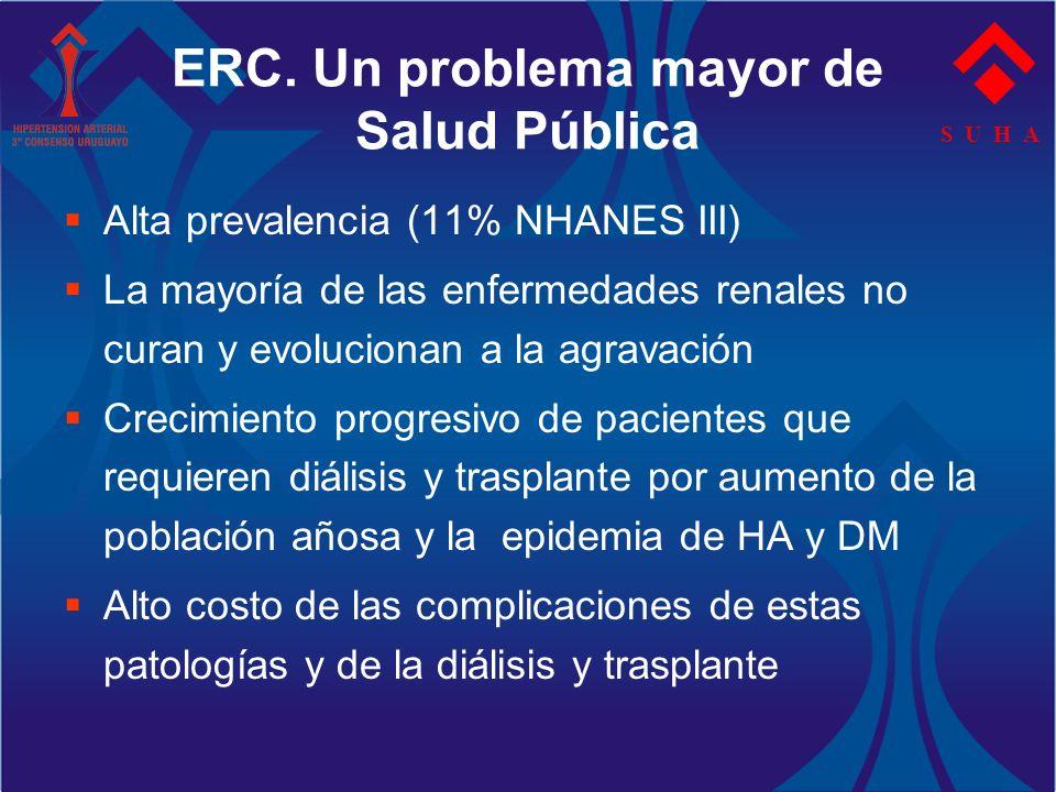S U H A ERC. Un problema mayor de Salud Pública Alta prevalencia (11% NHANES III) La mayoría de las enfermedades renales no curan y evolucionan a la a