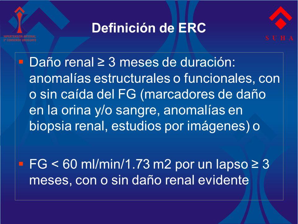 S U H A Definición de ERC Daño renal 3 meses de duración: anomalías estructurales o funcionales, con o sin caída del FG (marcadores de daño en la orin