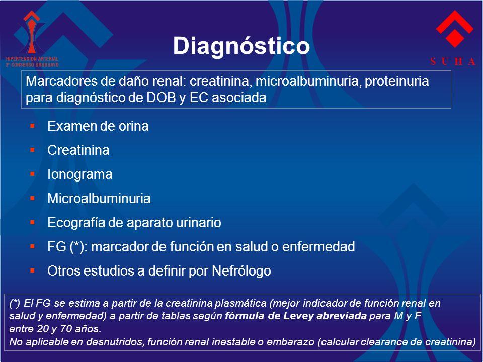 S U H A Diagnóstico Examen de orina Creatinina Ionograma Microalbuminuria Ecografía de aparato urinario FG (*): marcador de función en salud o enferme