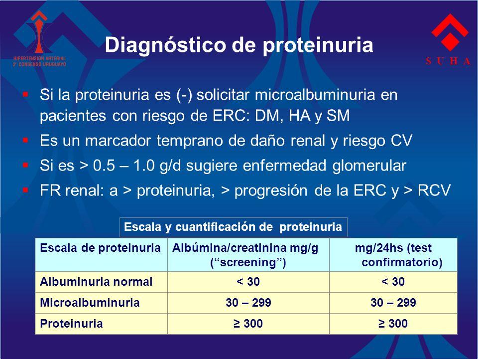 Diagnóstico de proteinuria S U H A Si la proteinuria es (-) solicitar microalbuminuria en pacientes con riesgo de ERC: DM, HA y SM Es un marcador temp