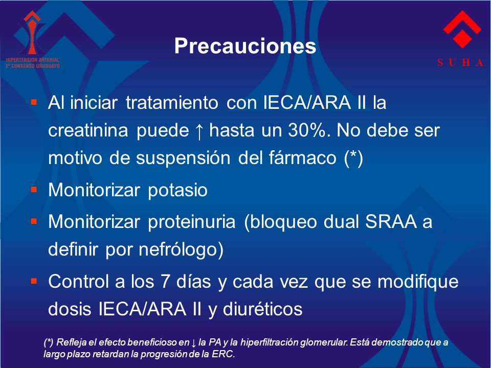 S U H A Precauciones Al iniciar tratamiento con IECA/ARA II la creatinina puede hasta un 30%. No debe ser motivo de suspensión del fármaco (*) Monitor