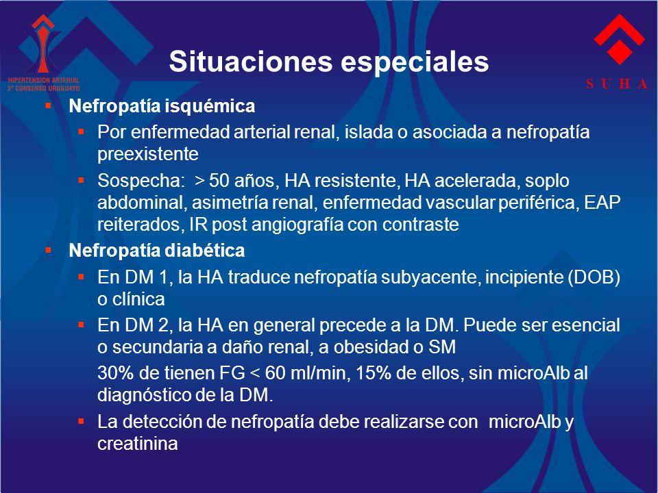 S U H A Situaciones especiales Nefropatía isquémica Por enfermedad arterial renal, islada o asociada a nefropatía preexistente Sospecha: > 50 años, HA