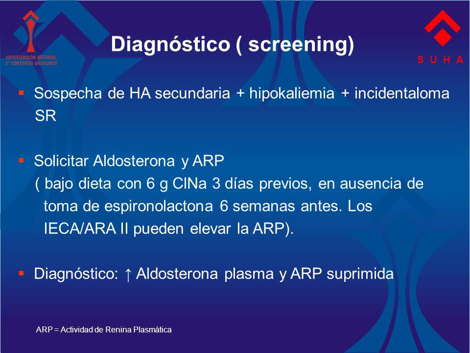 S U H A Sospecha de HA secundaria + hipokaliemia + incidentaloma SR Solicitar Aldosterona y ARP ( bajo dieta con 6 g ClNa 3 días previos, en ausencia