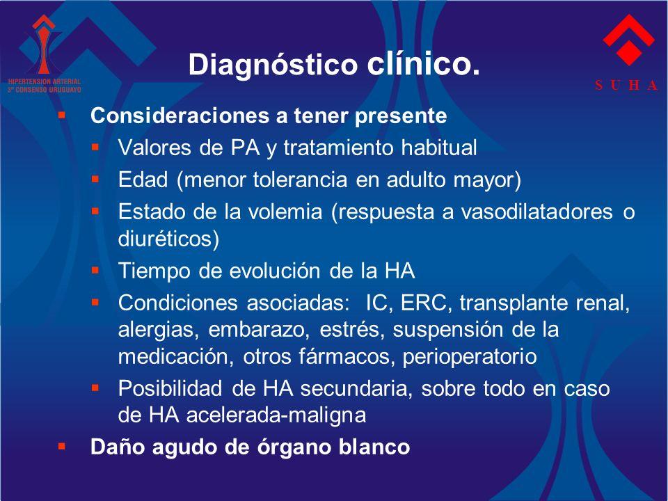 S U H A Diagnóstico clínico. Consideraciones a tener presente Valores de PA y tratamiento habitual Edad (menor tolerancia en adulto mayor) Estado de l