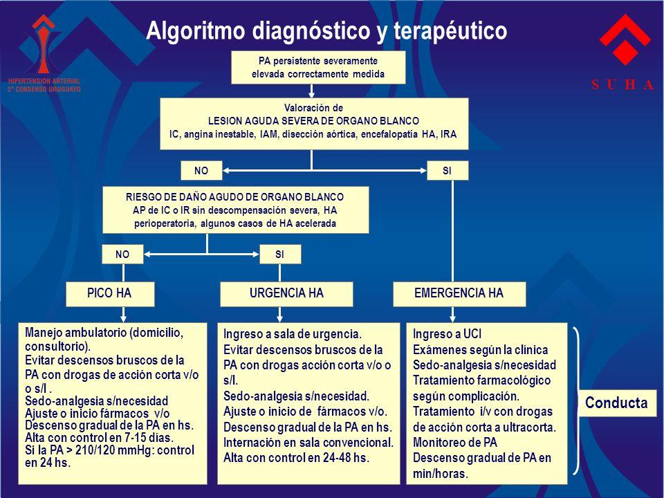 S U H A NO Manejo ambulatorio (domicilio, consultorio). Evitar descensos bruscos de la PA con drogas de acción corta v/o o s/l. Sedo-analgesia s/neces