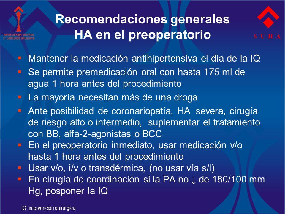 S U H A Recomendaciones generales HA en el preoperatorio Mantener la medicación antihipertensiva el día de la IQ Se permite premedicación oral con has