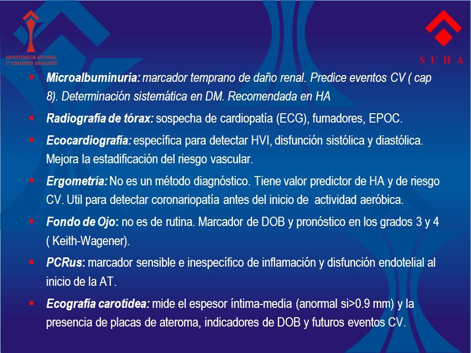 S U H A Microalbuminuria: marcador temprano de daño renal. Predice eventos CV ( cap 8). Determinación sistemática en DM. Recomendada en HA Radiografía