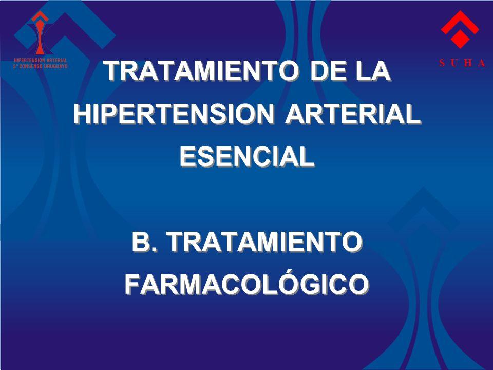 TRATAMIENTO DE LA HIPERTENSION ARTERIAL ESENCIAL B. TRATAMIENTO FARMACOLÓGICO S U H A
