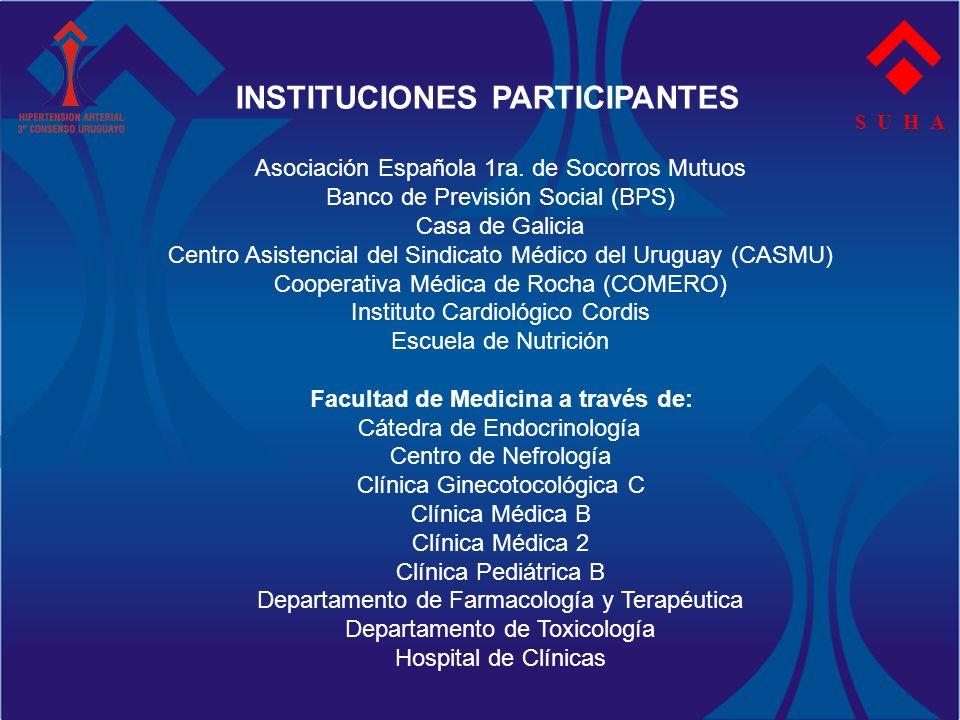 S U H A INSTITUCIONES PARTICIPANTES Asociación Española 1ra. de Socorros Mutuos Banco de Previsión Social (BPS) Casa de Galicia Centro Asistencial del
