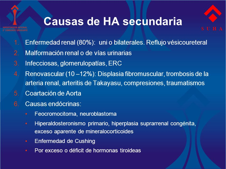 S U H A 1.Enfermedad renal (80%): uni o bilaterales. Reflujo vésicoureteral 2.Malformación renal o de vías urinarias 3.Infecciosas, glomerulopatías, E