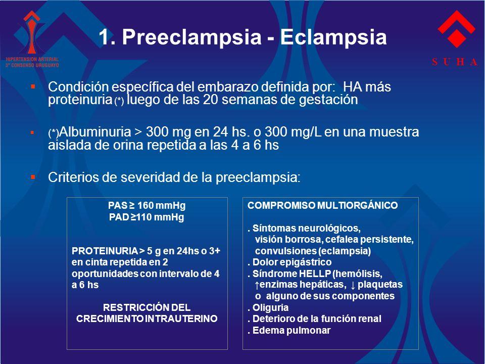 S U H A 1. Preeclampsia - Eclampsia Condición específica del embarazo definida por: HA más proteinuria (*) luego de las 20 semanas de gestación (*) Al