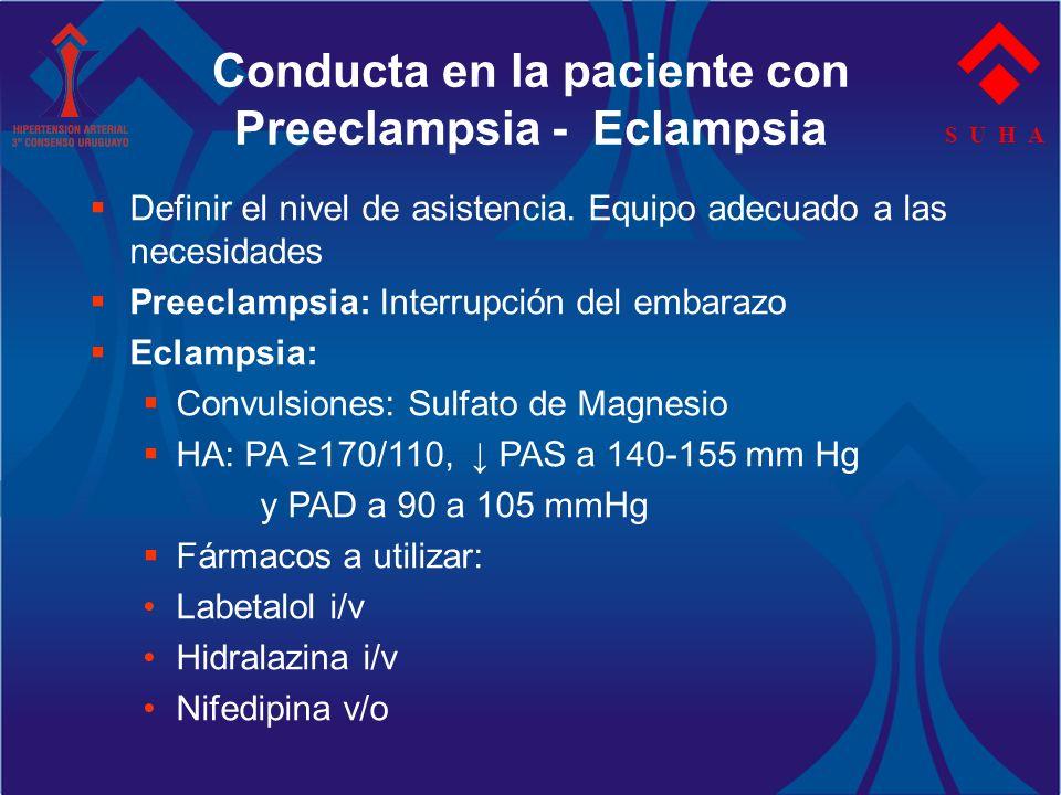 S U H A Conducta en la paciente con Preeclampsia - Eclampsia Definir el nivel de asistencia. Equipo adecuado a las necesidades Preeclampsia: Interrupc