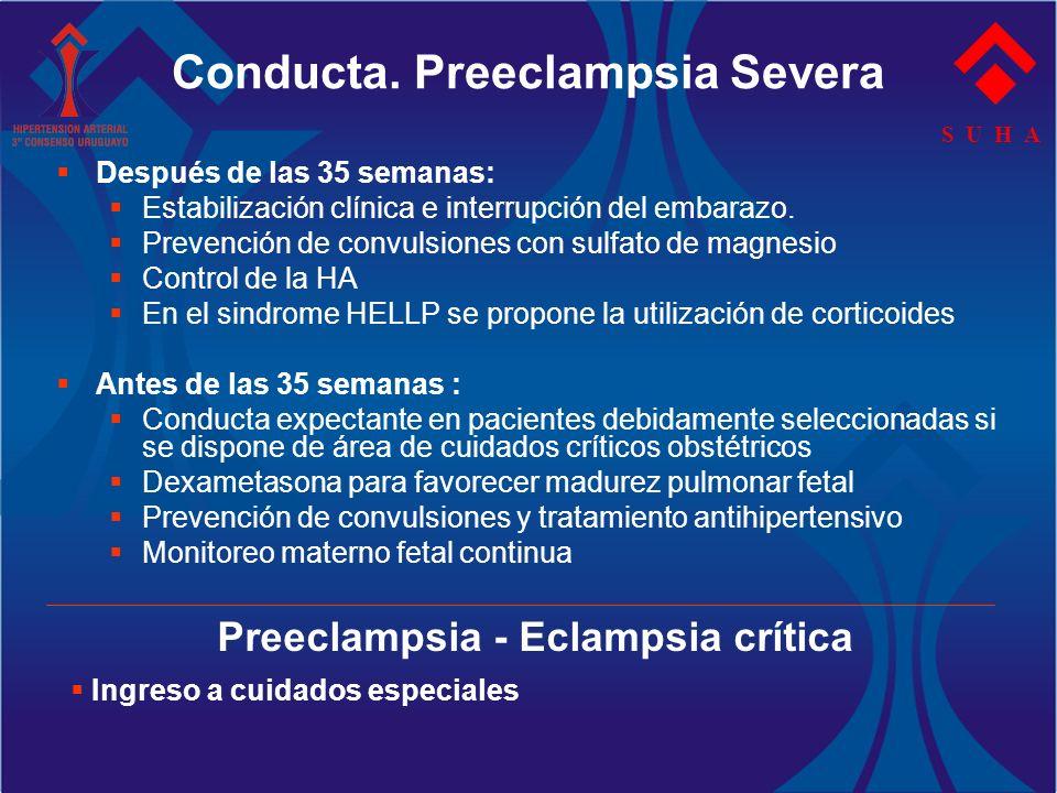 S U H A Después de las 35 semanas: Estabilización clínica e interrupción del embarazo. Prevención de convulsiones con sulfato de magnesio Control de l