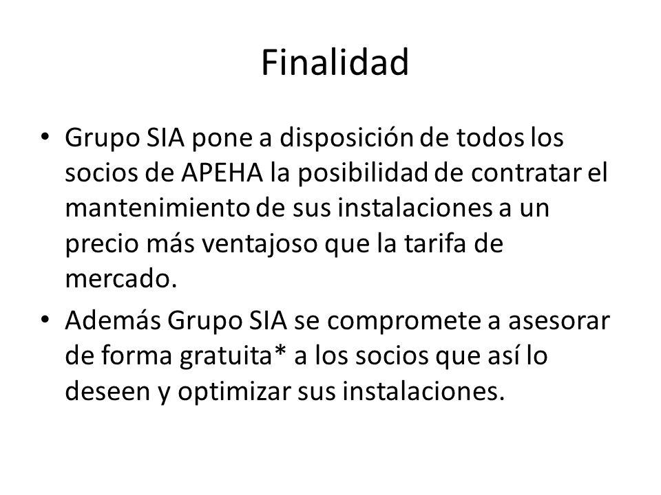 Finalidad Grupo SIA pone a disposición de todos los socios de APEHA la posibilidad de contratar el mantenimiento de sus instalaciones a un precio más ventajoso que la tarifa de mercado.