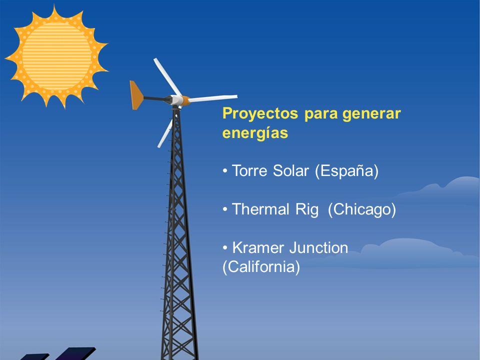 Resumen Solar Tower (España) Genera electricidad gracias a su sistema de funcionamiento: en la base de la torre tiene una gran superficie de cristal de 3 km de diámetro destinada a calentar el aire que asciende por los 750 metros de la Torre de forma que producirán energía eléctrica al mover unas turbinas que se encuentran en lo alto de la torre.