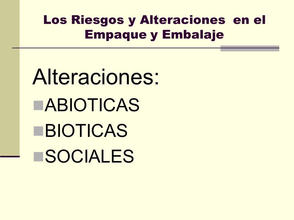 Los Riesgos y Alteraciones en el Empaque y Embalaje Alteraciones: ABIOTICAS BIOTICAS SOCIALES
