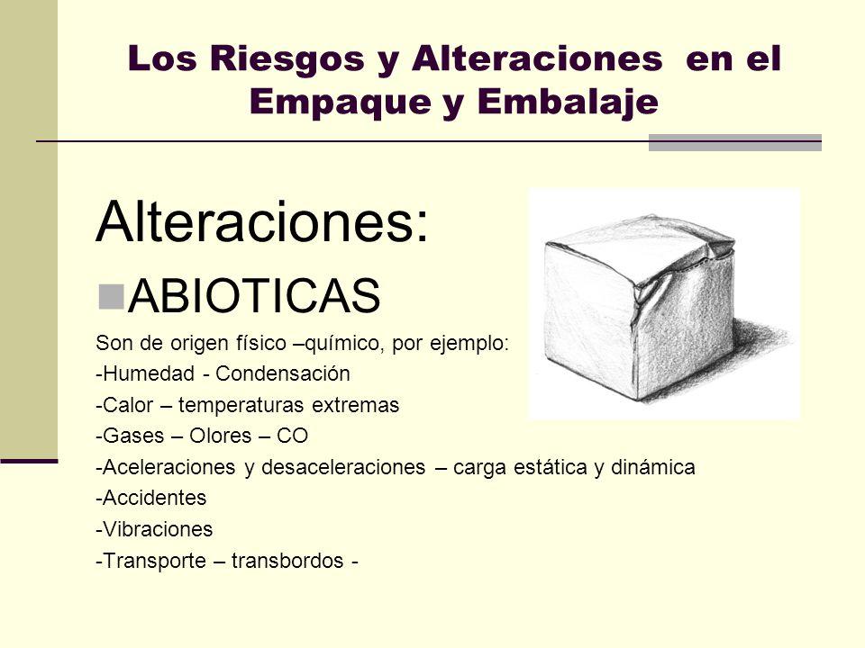 Los Riesgos y Alteraciones en el Empaque y Embalaje Alteraciones: ABIOTICAS Son de origen físico –químico, por ejemplo: -Humedad - Condensación -Calor