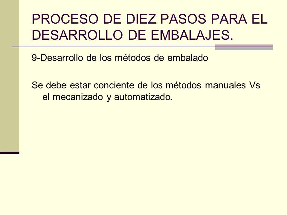 PROCESO DE DIEZ PASOS PARA EL DESARROLLO DE EMBALAJES. 9-Desarrollo de los métodos de embalado Se debe estar conciente de los métodos manuales Vs el m
