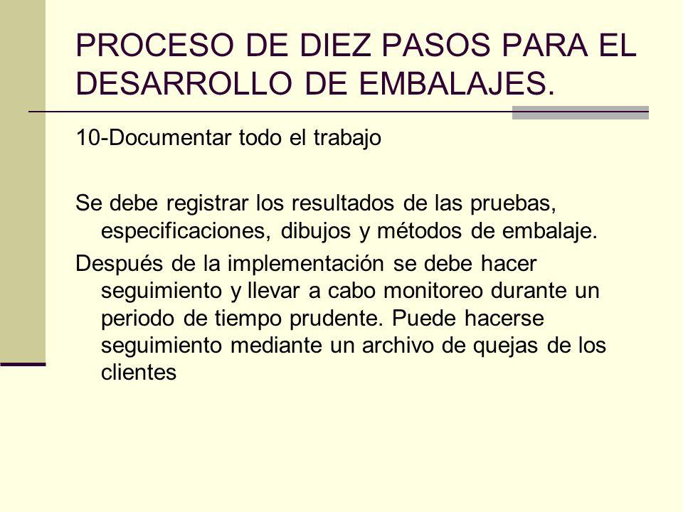 PROCESO DE DIEZ PASOS PARA EL DESARROLLO DE EMBALAJES. 10-Documentar todo el trabajo Se debe registrar los resultados de las pruebas, especificaciones
