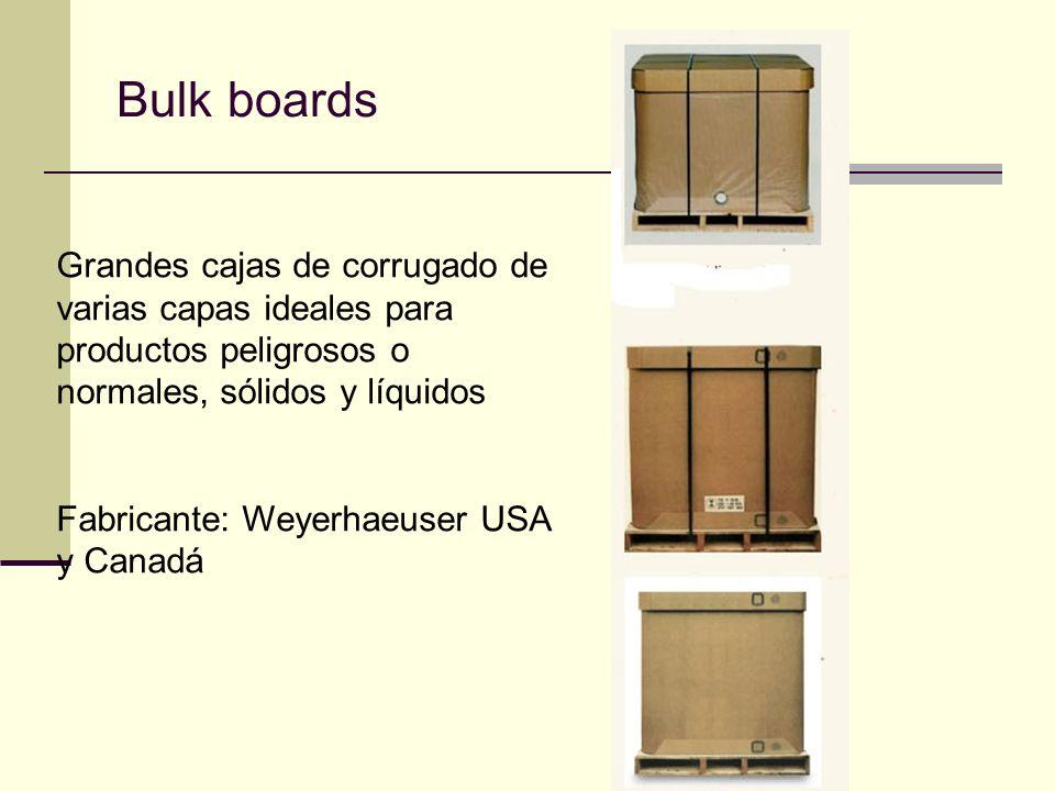 Bulk boards Grandes cajas de corrugado de varias capas ideales para productos peligrosos o normales, sólidos y líquidos Fabricante: Weyerhaeuser USA y