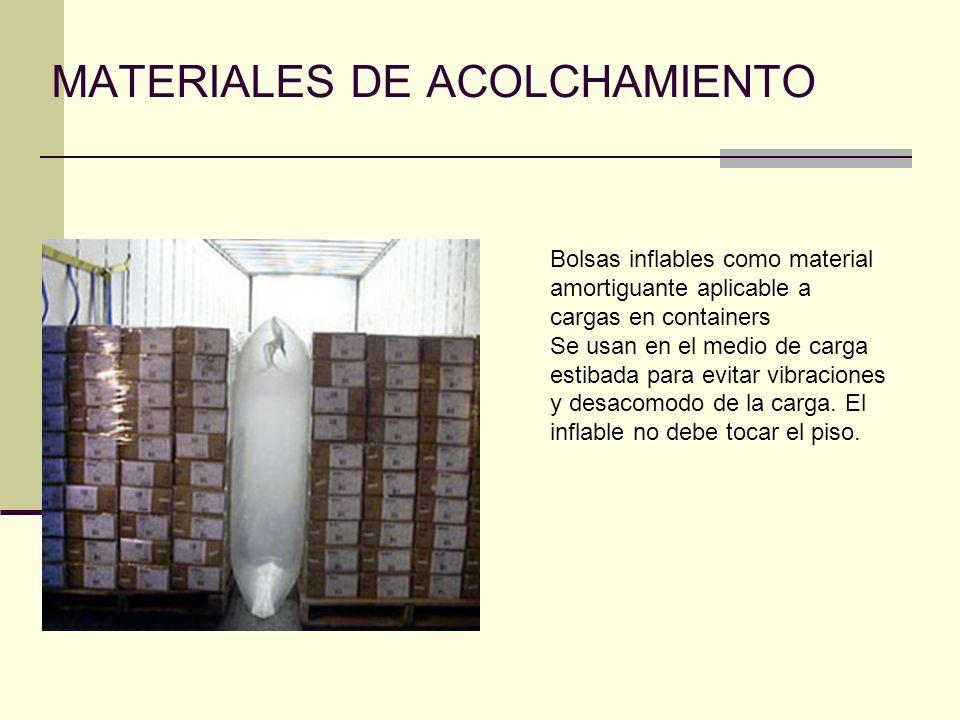 MATERIALES DE ACOLCHAMIENTO Bolsas inflables como material amortiguante aplicable a cargas en containers Se usan en el medio de carga estibada para ev