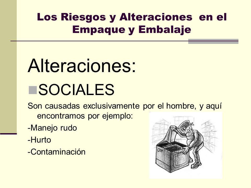 Los Riesgos y Alteraciones en el Empaque y Embalaje Alteraciones: SOCIALES Son causadas exclusivamente por el hombre, y aquí encontramos por ejemplo: