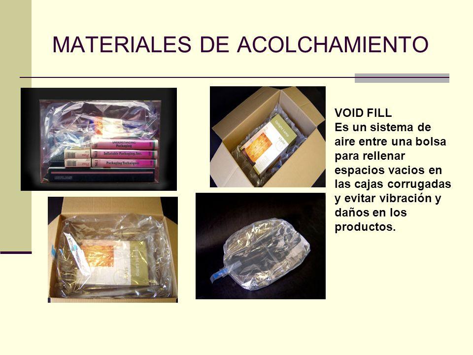 MATERIALES DE ACOLCHAMIENTO VOID FILL Es un sistema de aire entre una bolsa para rellenar espacios vacios en las cajas corrugadas y evitar vibración y