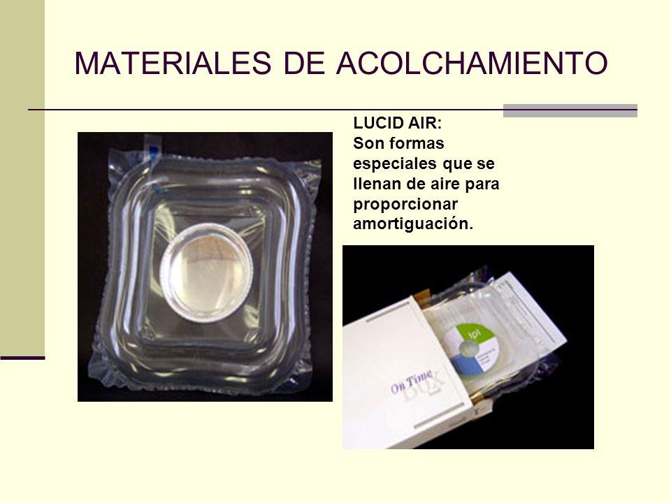 MATERIALES DE ACOLCHAMIENTO LUCID AIR: Son formas especiales que se llenan de aire para proporcionar amortiguación.