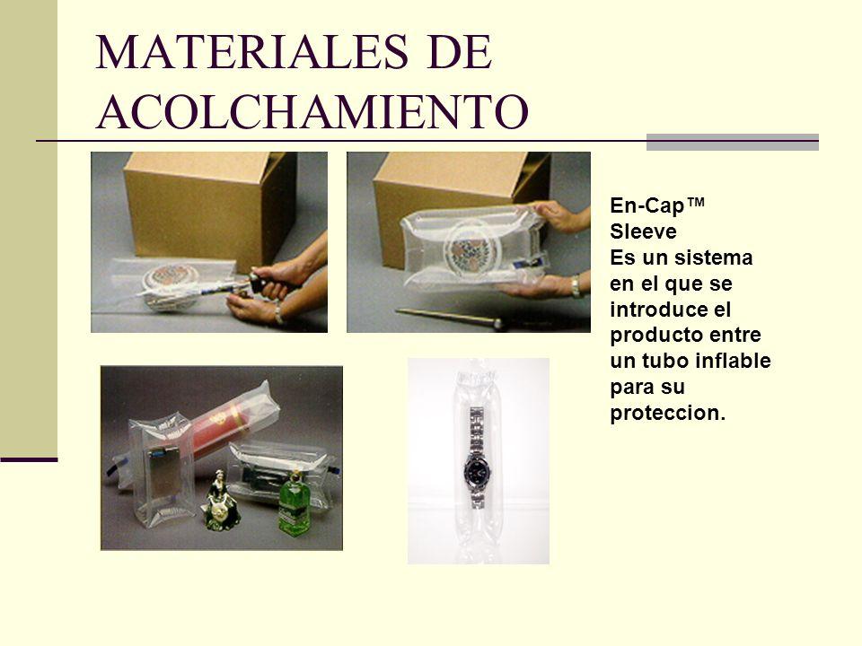 MATERIALES DE ACOLCHAMIENTO En-Cap Sleeve Es un sistema en el que se introduce el producto entre un tubo inflable para su proteccion.