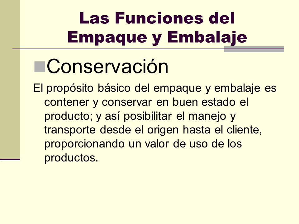 Las Funciones del Empaque y Embalaje Conservación El propósito básico del empaque y embalaje es contener y conservar en buen estado el producto; y así