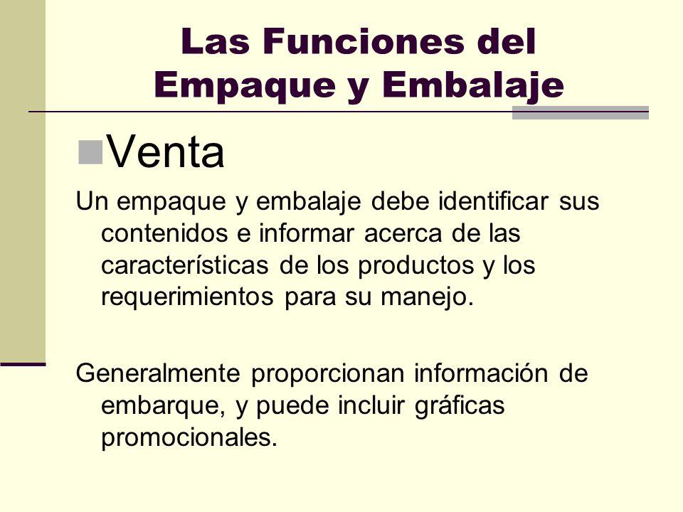 Las Funciones del Empaque y Embalaje Venta Un empaque y embalaje debe identificar sus contenidos e informar acerca de las características de los produ