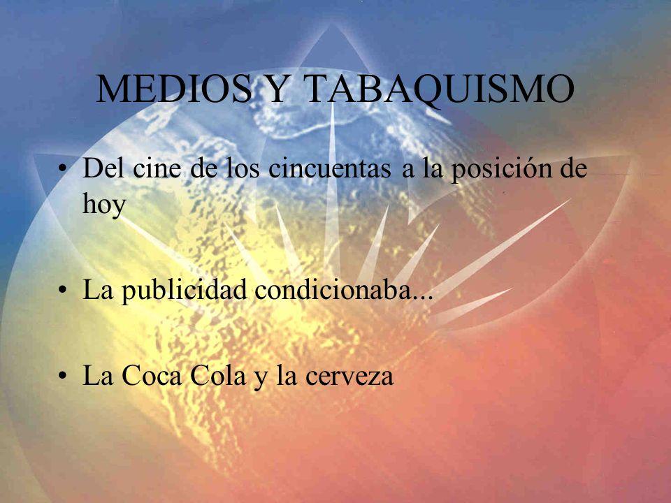 MEDIOS Y TABAQUISMO Del cine de los cincuentas a la posición de hoy La publicidad condicionaba...