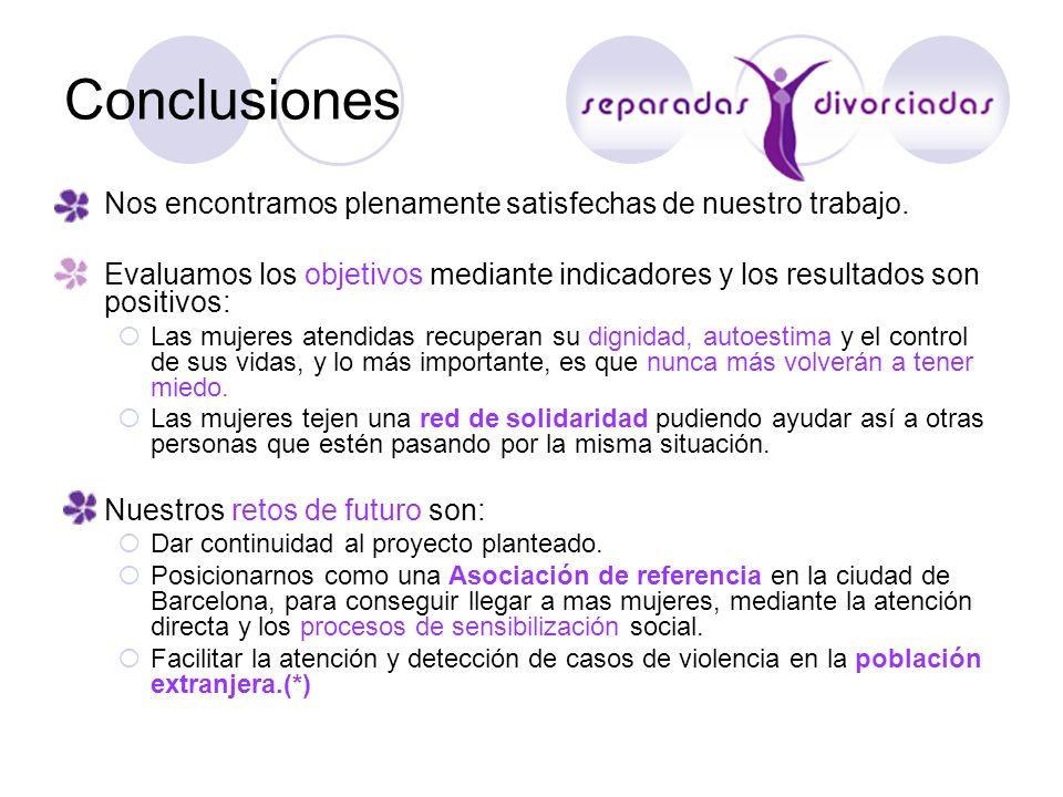 Conclusiones Nos encontramos plenamente satisfechas de nuestro trabajo. Evaluamos los objetivos mediante indicadores y los resultados son positivos: L