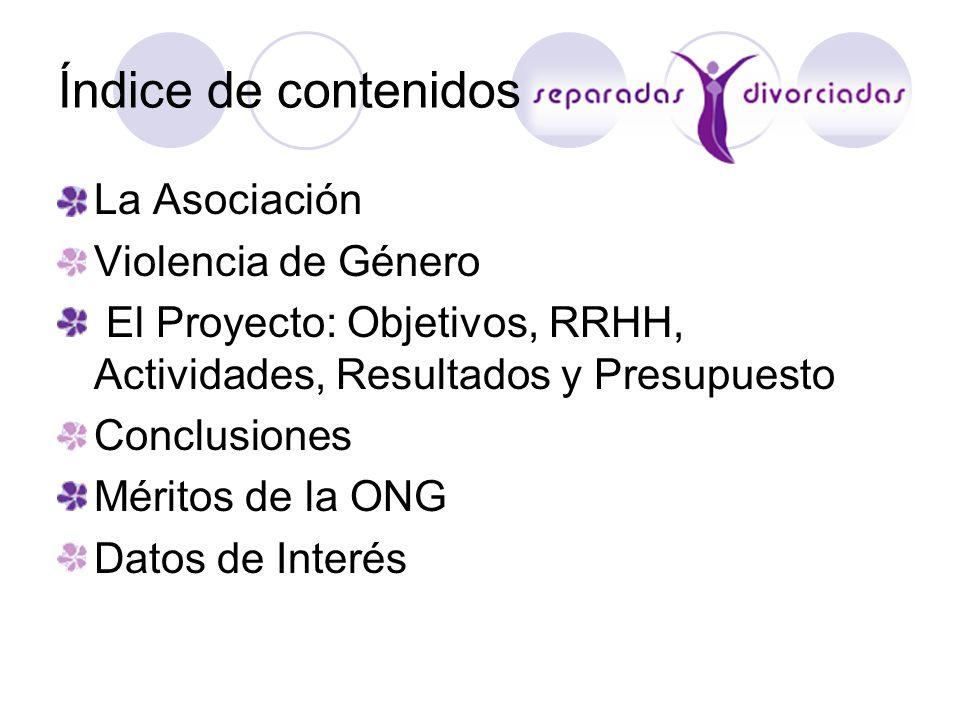La Asociación Violencia de Género El Proyecto: Objetivos, RRHH, Actividades, Resultados y Presupuesto Conclusiones Méritos de la ONG Datos de Interés