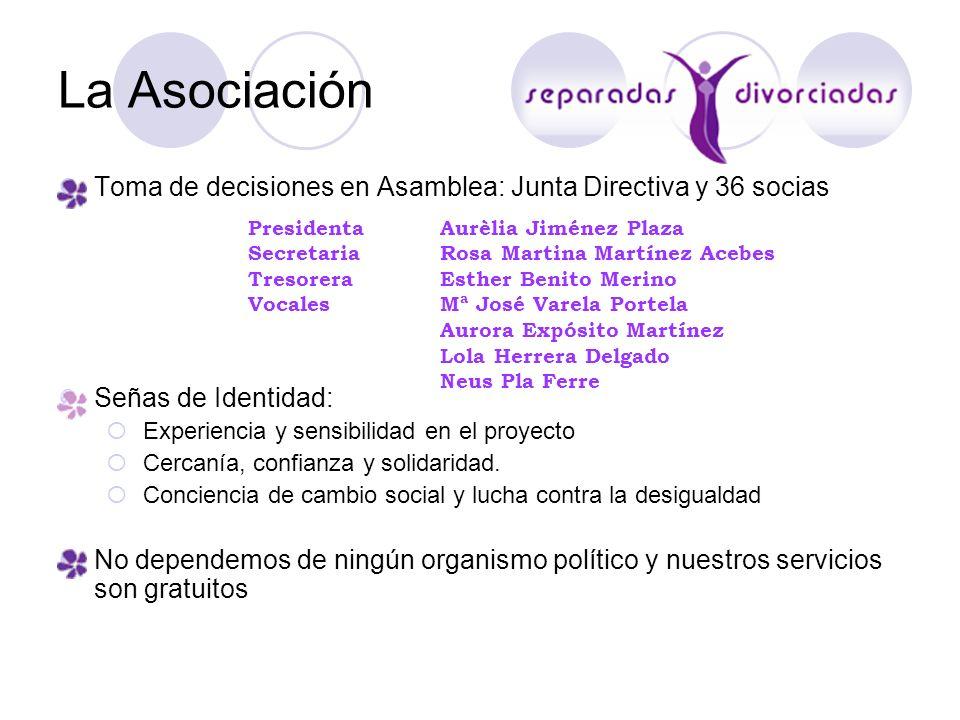 La Asociación Toma de decisiones en Asamblea: Junta Directiva y 36 socias Señas de Identidad: Experiencia y sensibilidad en el proyecto Cercanía, conf