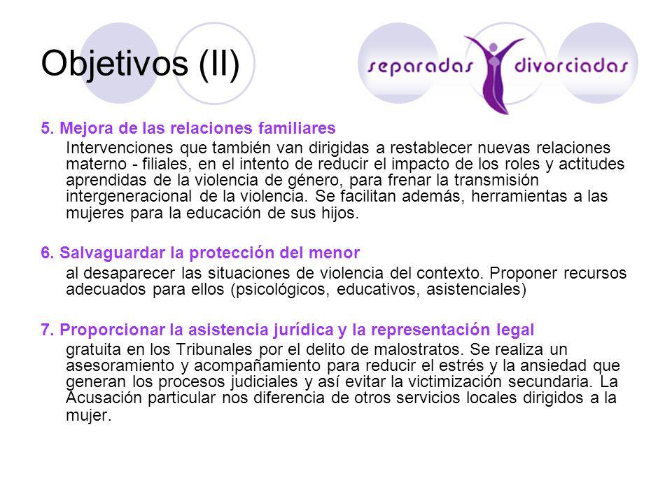 Objetivos (II) 5. Mejora de las relaciones familiares Intervenciones que también van dirigidas a restablecer nuevas relaciones materno - filiales, en