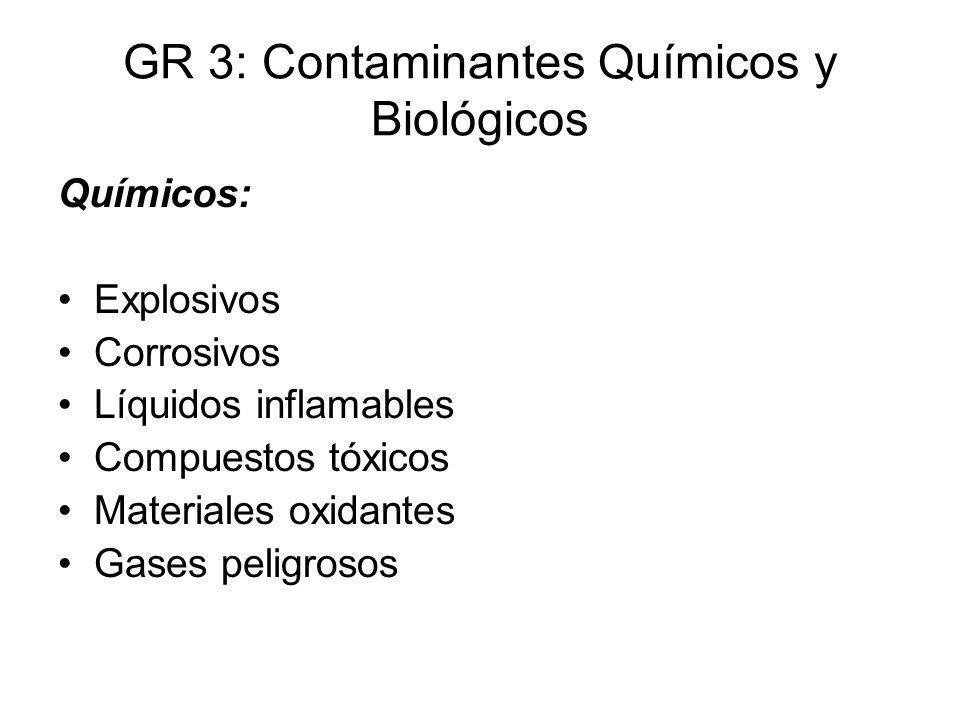 GR 3: Contaminantes Químicos y Biológicos Químicos: Explosivos Corrosivos Líquidos inflamables Compuestos tóxicos Materiales oxidantes Gases peligroso