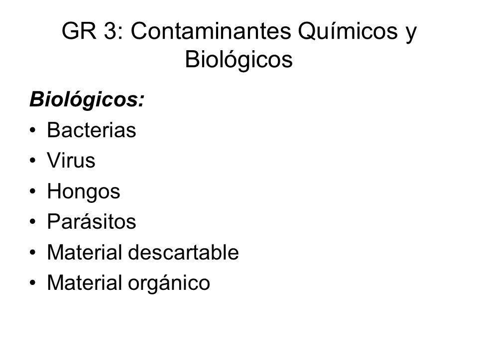 GR 3: Contaminantes Químicos y Biológicos Biológicos: Bacterias Virus Hongos Parásitos Material descartable Material orgánico