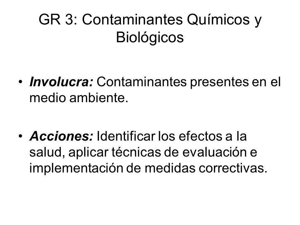 GR 3: Contaminantes Químicos y Biológicos Involucra: Contaminantes presentes en el medio ambiente. Acciones: Identificar los efectos a la salud, aplic